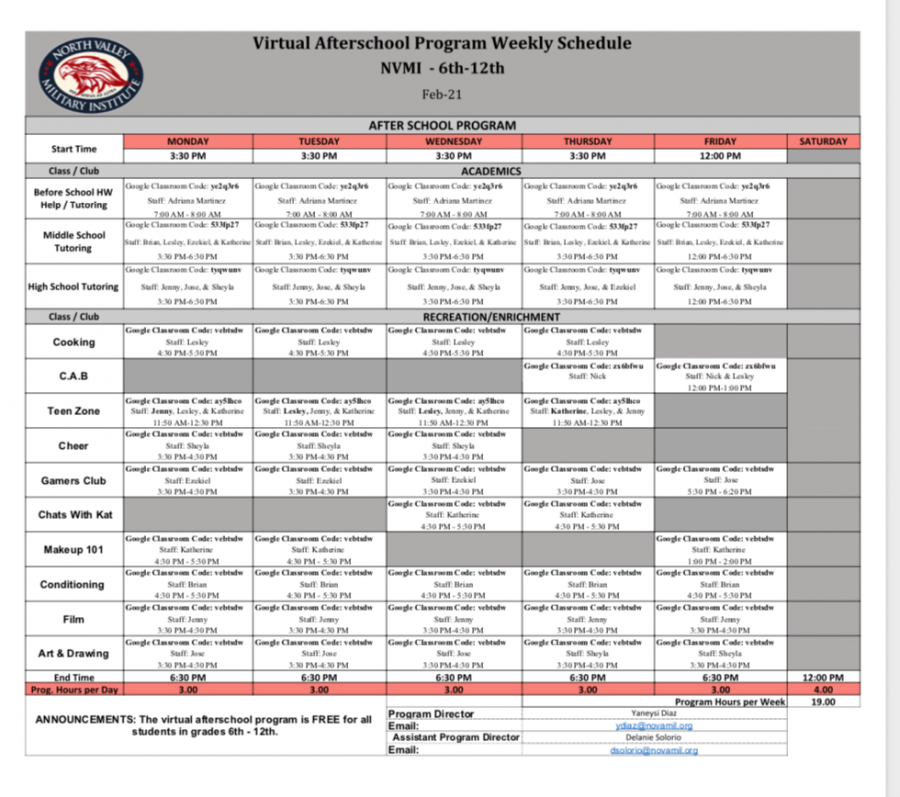 After School Schedule for February